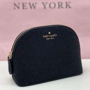 Kate Spade Small Cosmetic Lola Glitter Black